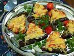 Баклажаны веером с сыром и помидорами. Пошаговый фоторецепт.