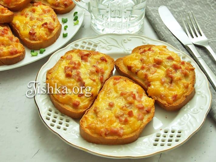 Горячие бутерброды с сыром и ветчиной. Пошаговый фоторецепт.