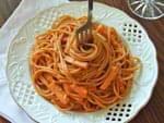 Спагетти с сыром и ветчиной в томатном соусе. Пошаговый фоторецепт.